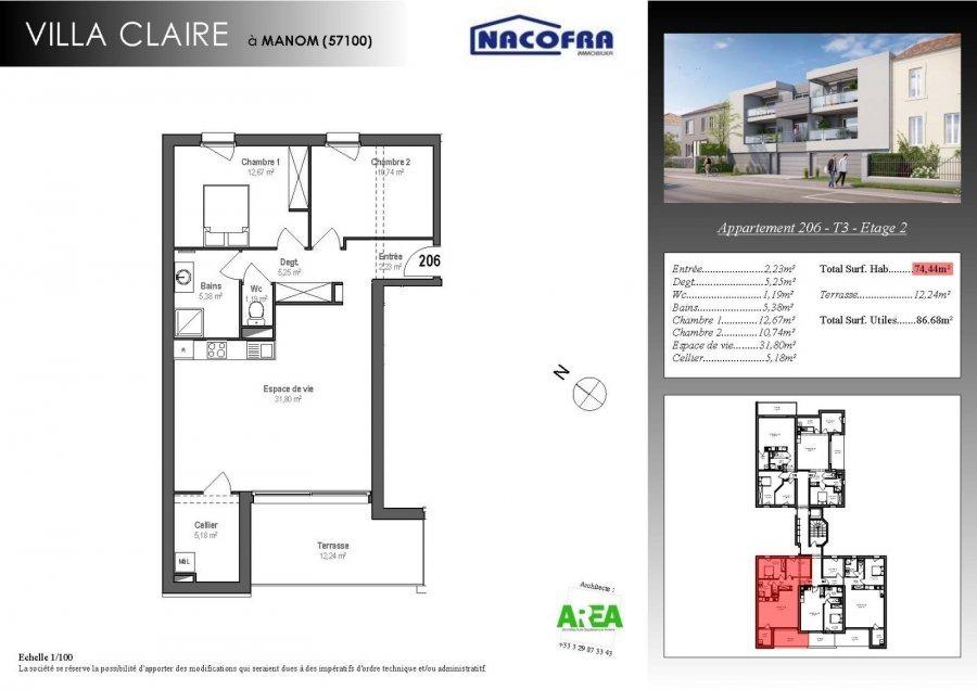 acheter appartement 3 pièces 74.25 m² manom photo 1