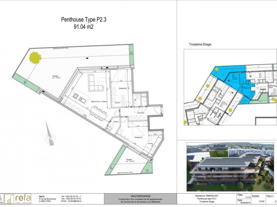 acheter penthouse 3 chambres 91 m² walferdange photo 1