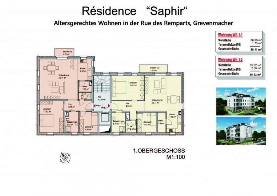 acheter appartement 2 chambres 88.12 m² grevenmacher photo 2