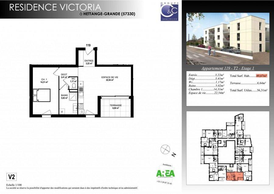 acheter appartement 2 pièces 51.32 m² hettange-grande photo 3