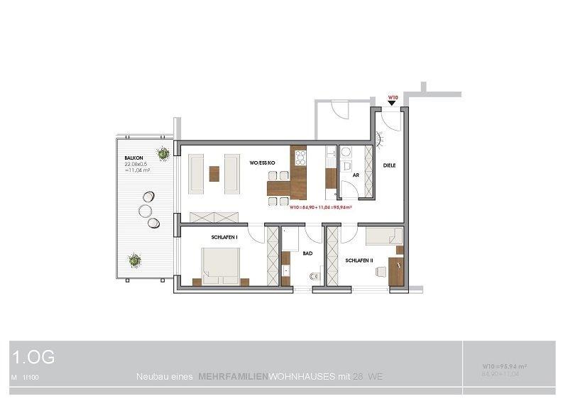 wohnung mieten 3 zimmer 95.94 m² perl foto 2