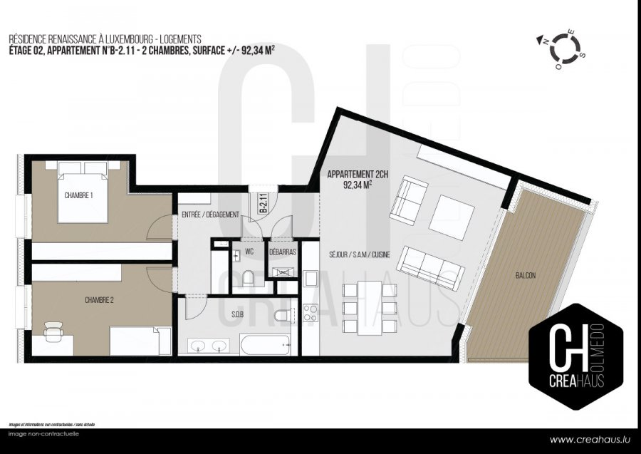 apartment for buy 2 bedrooms 92.34 m² luxembourg photo 3