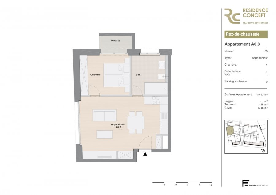 acheter appartement 1 chambre 49.43 m² luxembourg photo 1