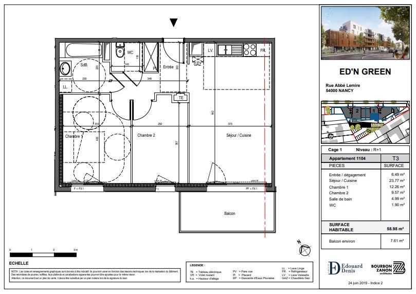 acheter appartement 3 pièces 60 m² nancy photo 3