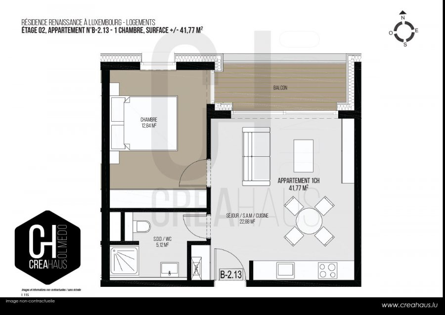 acheter appartement 1 chambre 41.77 m² luxembourg photo 3