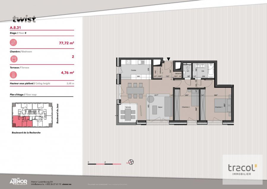 acheter appartement 2 chambres 77.72 m² belval photo 2