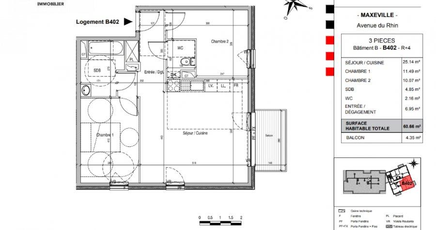 acheter appartement 3 pièces 60.5 m² maxéville photo 4