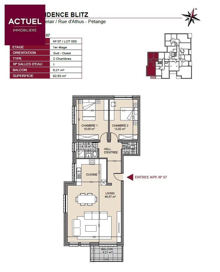 acheter appartement 2 chambres 96 m² pétange photo 3