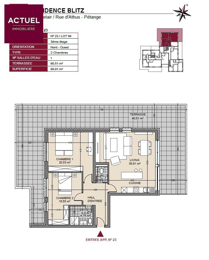 acheter penthouse 2 chambres 135 m² pétange photo 3