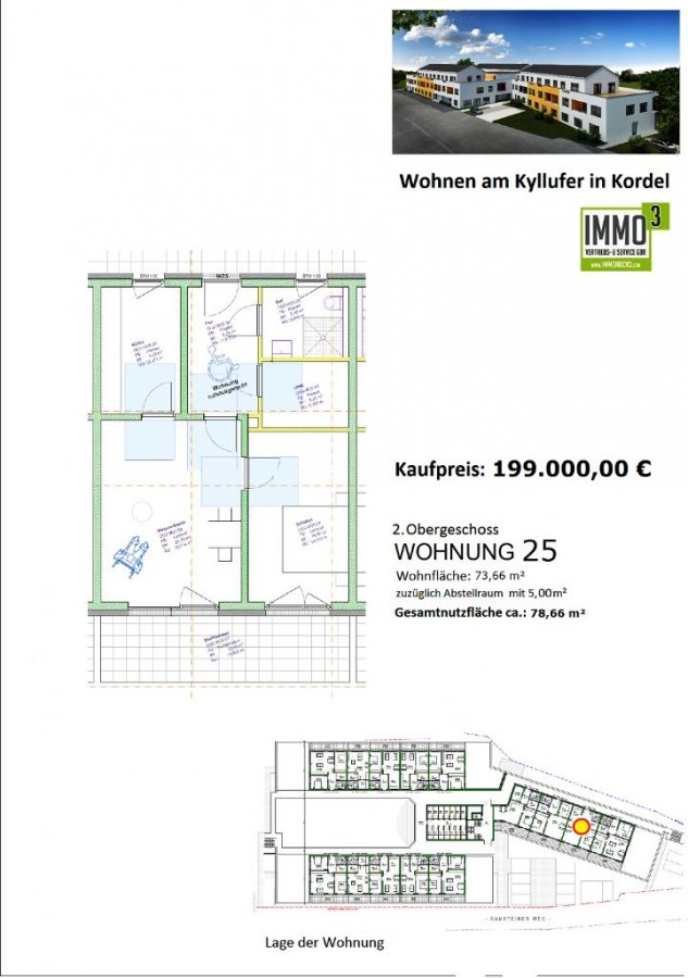 acheter appartement 2 pièces 73.66 m² kordel photo 2