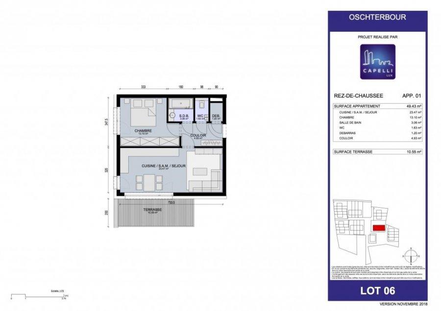 acheter appartement 1 chambre 49.43 m² differdange photo 3