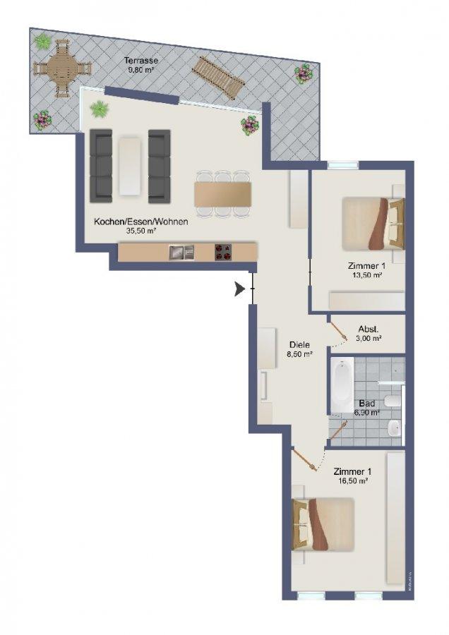 wohnung kaufen 3 zimmer 92.2 m² trier foto 2