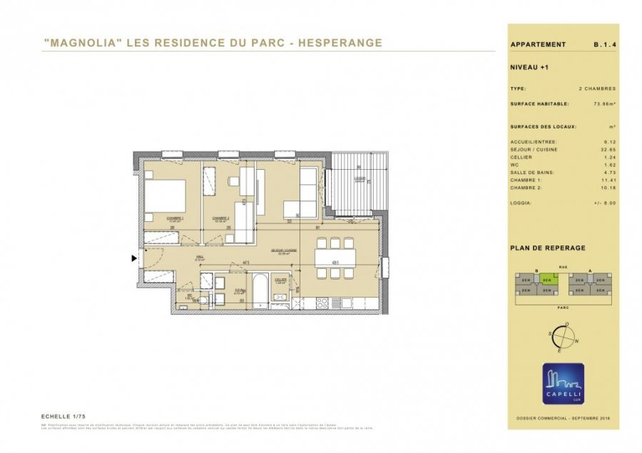 acheter appartement 2 chambres 73.86 m² hesperange photo 3