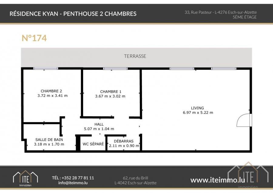 acheter penthouse 2 chambres 74.3 m² esch-sur-alzette photo 3