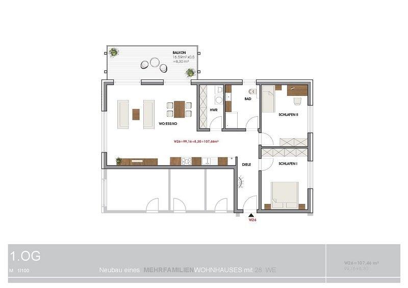 wohnung mieten 3 zimmer 107.46 m² perl foto 3