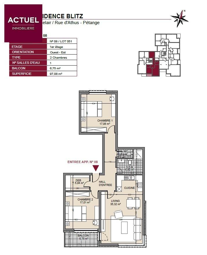 acheter appartement 2 chambres 101 m² pétange photo 3