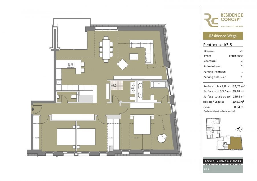 acheter penthouse 3 chambres 131.7 m² gosseldange photo 3