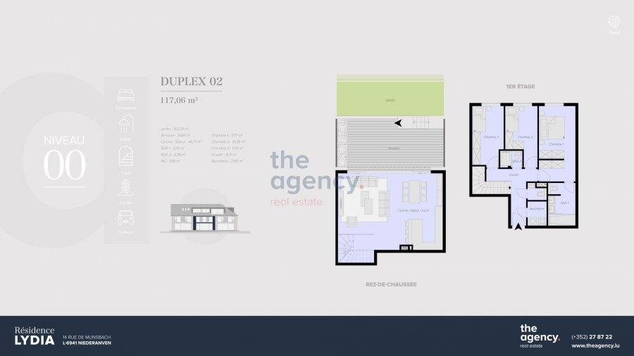 acheter duplex 3 chambres 117.06 m² niederanven photo 1