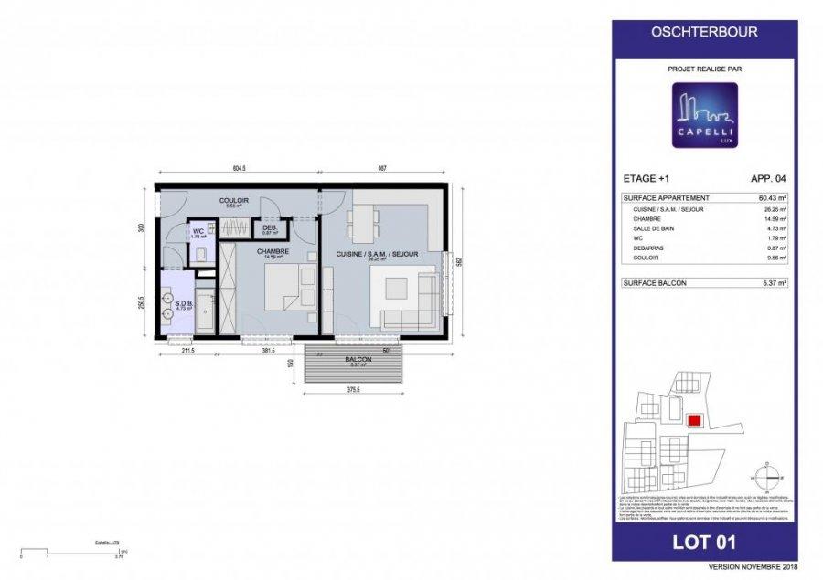 acheter appartement 1 chambre 60.43 m² differdange photo 3