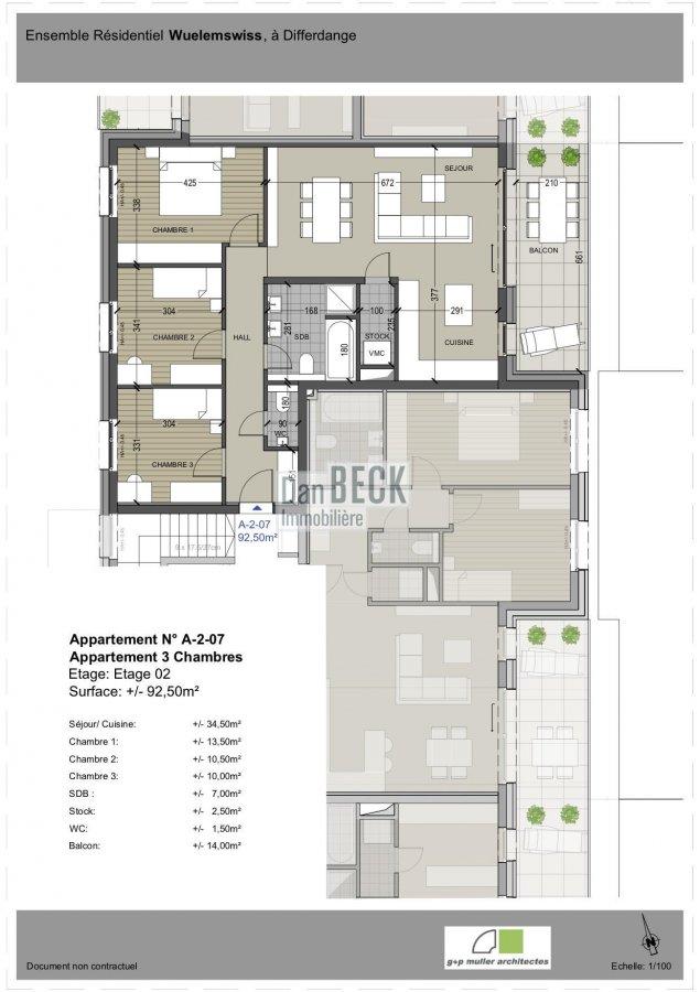wohnung kaufen 3 schlafzimmer 92.5 m² differdange foto 2
