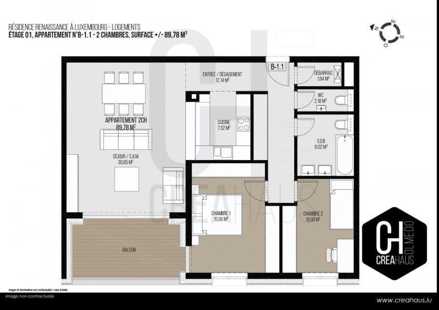 acheter appartement 2 chambres 89.78 m² luxembourg photo 3