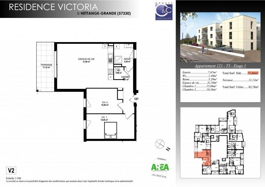 acheter appartement 3 pièces 71.66 m² hettange-grande photo 3