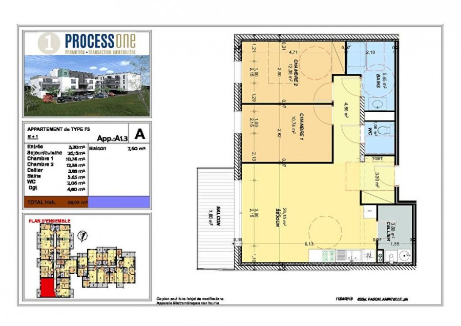 acheter appartement 3 pièces 68.99 m² amnéville photo 1