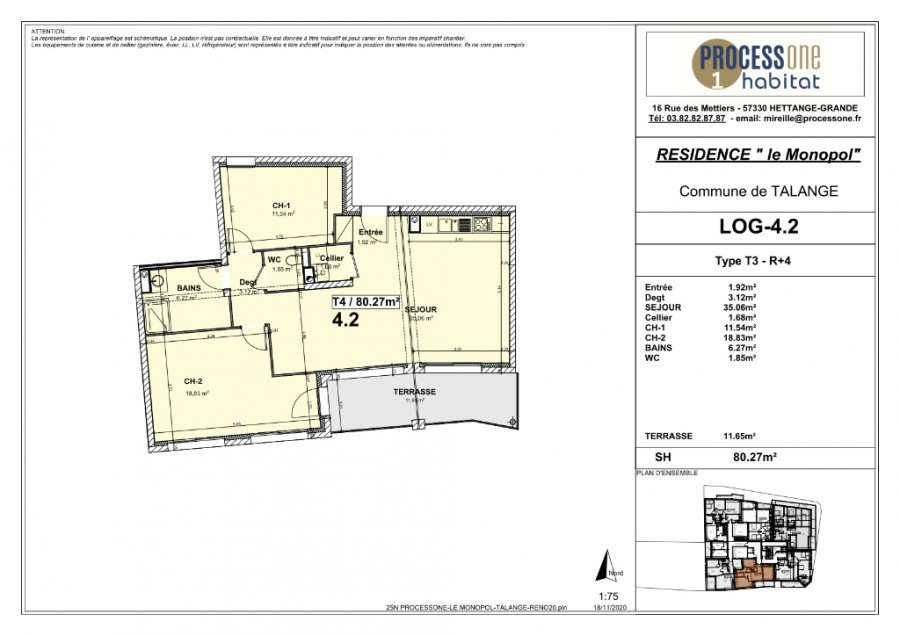 acheter appartement 3 pièces 80.27 m² talange photo 2