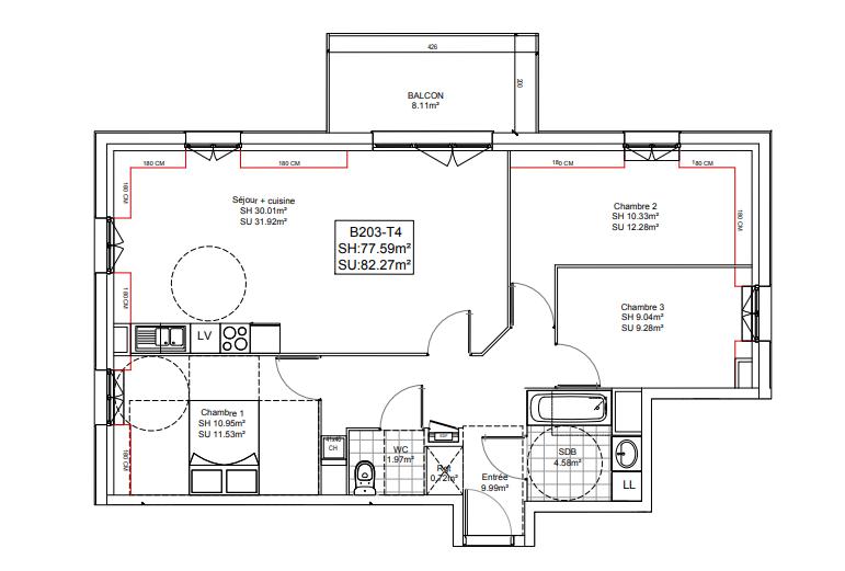 acheter appartement 4 pièces 73.78 m² tourcoing photo 3