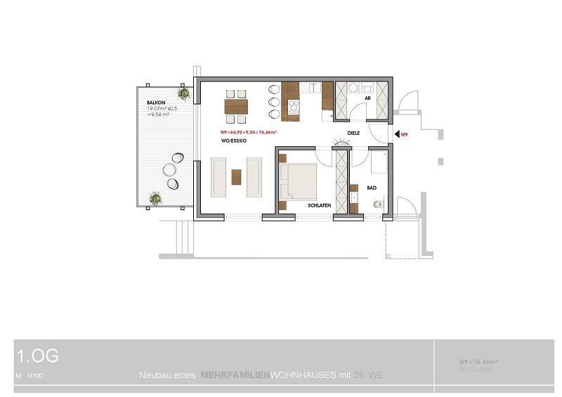 wohnung mieten 2 zimmer 76.46 m² perl foto 3