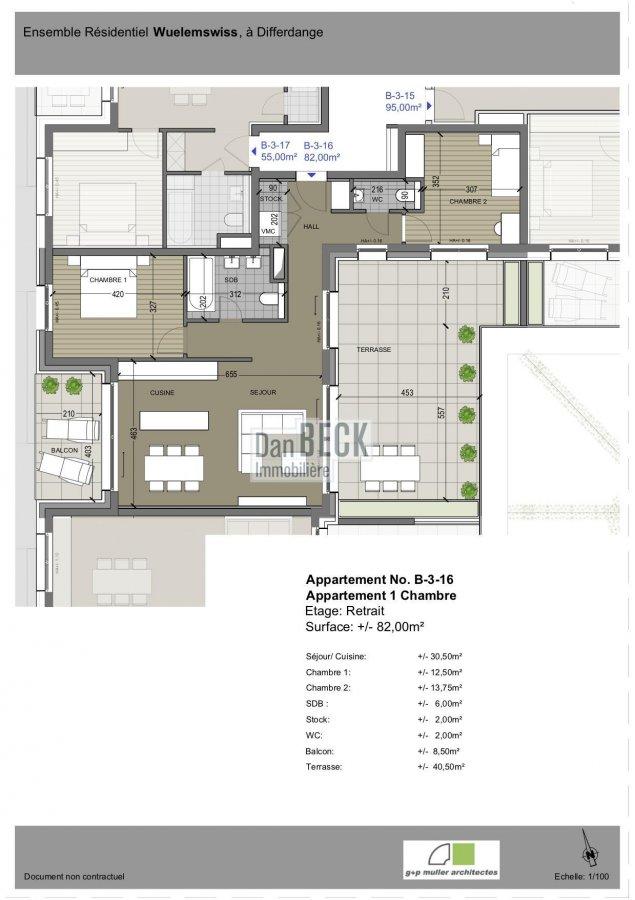 wohnung kaufen 2 schlafzimmer 82 m² differdange foto 2