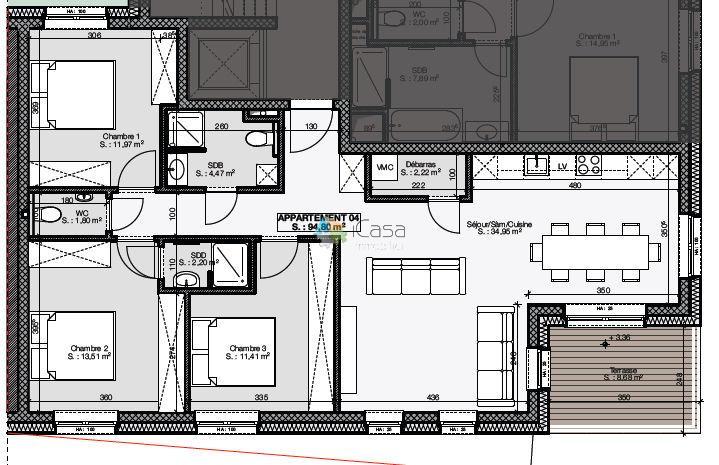 Appartement à vendre 2 chambres à Heinerscheid