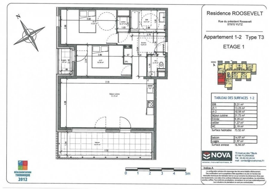 acheter appartement 3 pièces 73.52 m² yutz photo 2