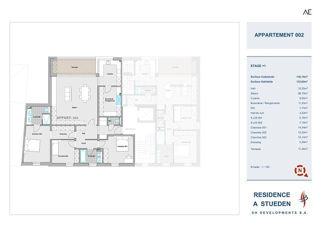 wohnung kaufen 3 schlafzimmer 134.49 m² peppange foto 2