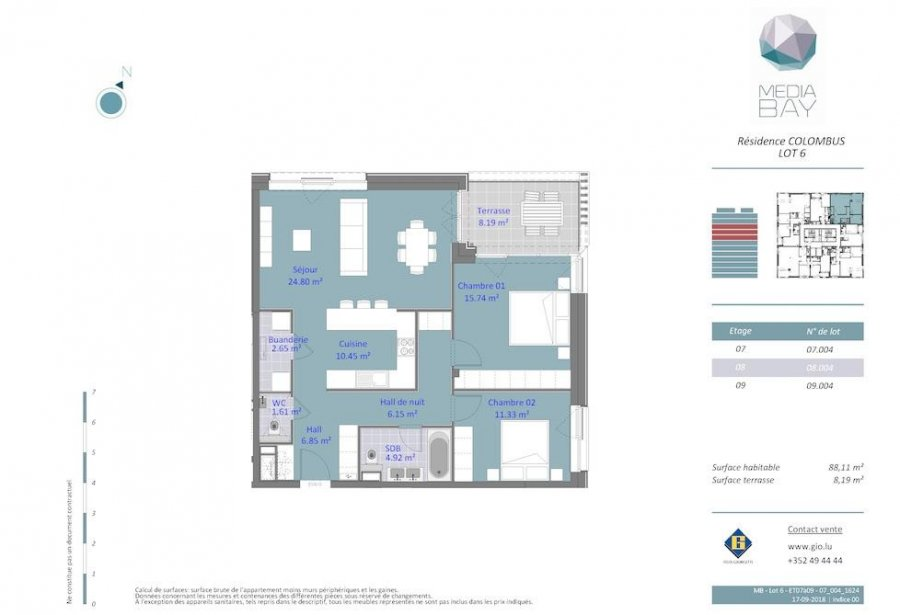 acheter appartement 2 chambres 88.11 m² luxembourg photo 4