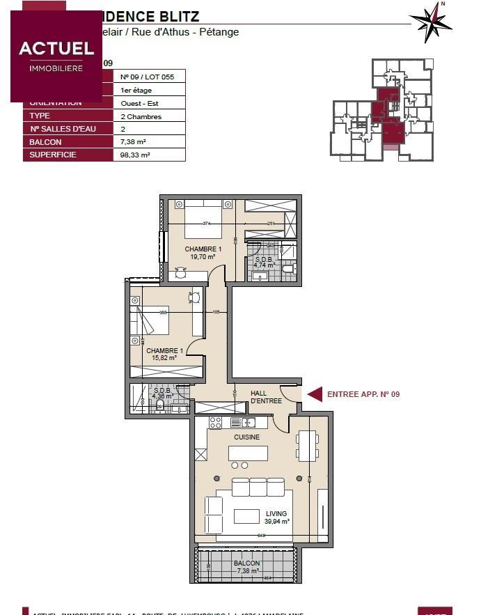 acheter appartement 2 chambres 102 m² pétange photo 3