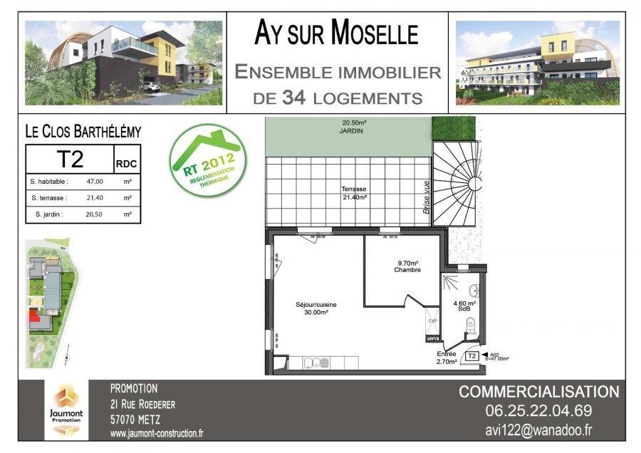 acheter appartement 2 pièces 46.95 m² ay-sur-moselle photo 2