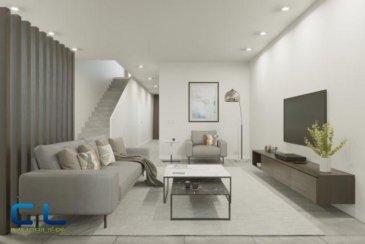 Nous vous proposons à la vente dans le nouveau projet  immobilier de standing « Place Benelux » : Une maison  (05) de +/- 163,18 m2 qui se compose comme suit:  Au sous-sol : - Un box fermé avec accès privatif - une cave  Au rez-de-chaussée : - Des jardins privatifs - Une grande terrasse avec un accès au jardin - Un WC séparé - Une cuisine ouverte - Un grand living  Au premier étage : - Deux chambres à coucher - Deux salles de bain  Au deuxième étage : - Une chambre à coucher - Une salle de bain - Une terrasse de +/- 5 m2 Ce nouveau projet  à l\'architecture contemporaine est constitué de 5 maisons en bande, d\'une résidence de 6 appartements et d\'un local commercial.  Il est idéalement situé à la Place Benelux, dans le quartier résidentiel d\'Esch nord, quartier calme et accueillant, qui possède encore de petits magasins de proximité, d\'autres infrastructures (telles que piscine, école, crèches, hôpital \') ou services (poste, banques etc), se trouvent aussi dans ce quartier. Les transports en commun ainsi que l\'autoroute A 4 se trouvent à quelques mètres.  A 5 minutes en voiture du site Belval.  Les prix indiqués comprennent la TVA à hauteur de 3%, il y a la possibilité d\'acheter en supplément des emplacements de parking intérieurs.  N\'hésitez pas à nous contacter pour de plus amples renseignements, les plans et cahier de charges sont à votre disposition sur  simple demande.  Frais d\'agence compris dans le prix et à charge du vendeur.       Ref agence : EACVB69-79-M5