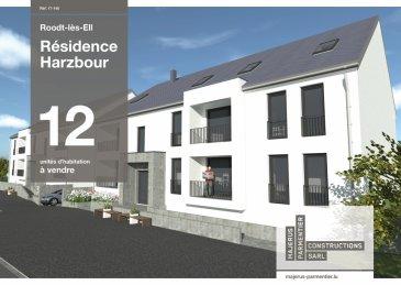 """La résidence """"Harzbour"""" abrite en tout 12 unités de haut standing, dont 8 appartements (à 1 ou 2 chambres à coucher)et 4 duplex (à 3 chambres à coucher), répartis dans deux blocs (A et B) sur le rez-de-chaussée, étage 1 et étage 2. Toutes les habitations disposent d'une terrasse, ou loggia ou balcon, ainsi que deux places de parking inclus dans le prix de vente. (le prix affiché comprend 3% de TVA) En copropriété, la résidence dispose d'un jardin commun, de deux ascenseurs et d'un sous-sol commun, où se situent les parkings, les caves privatives et le local technique. Dominée par une architecture contemporaine fonctionnelle et conçue selon les principes de la construction durable, la résidence garantit un confort optimal et des espaces de vie de qualité, incluant les commodités suivantes: • chauffage au sol • ventilations mécaniques, contrôlées individuelles • revêtements et finitions internes de qualité • salles de bains de haut standing, équipée de mobilier avec douche de plain-pied • terrasse privative et jardin commun pour l'ensemble des unités  Documentation complète, avec plan, descriptif, et informations générales, sur simple demande.  Ref agence :725895"""