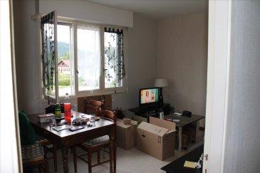 Appt F2 au 1er étage comp: cuisine aménagée, séjour, 1 chbre avec placard , SDB, wc séparés, Garage et Parking. CC gaz de ville.