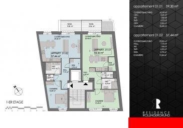 REZ-DE-CHAUSSÉE : Appartement (00.01) 1 ch. 64,56m² ; jardin privatif de 55m² et cave Prix 709.554,21 € TVA 3% ; prix € 759.554 TVA 17% Appartement (00.02) SOUS COMPROMIS : 1 ch. 63,21m² ; jardin privatif de 65m², terrasse de 6,68 m² et cave Prix 732.316,03 € TVA 3% ; prix € 782.316 TVA 17%  1er ÉTAGE : Appartement (01.01) 1 ch. 59,30m² ; terrasse de 6,04 m² et cave Prix € 641.109,70 TVA 3% ; prix € 691.110 TVA 17% Appartement (01.02) SOUS COMPROMIS : 1 ch. 57,44m² ; terrasse de 5,98 m² et cave Prix € 620.278,93 TVA 3% ; prix € 670.279,00 TVA 17%  2ème ÉTAGE : Appartement (02.01) 1 ch. 59,31m² ; balcon de 5,95 m² et cave Prix € 641.109,70 TVA 3% ; prix € 691.110 TVA 17% Appartement (02.02) SOUS COMPROMIS : 1 ch. 57,44m² ; balcon 5,98 m² et cave Prix € 620.278,93 TVA 3% ; prix € 670.279,00 TVA 17%  3ème ÉTAGE : Studio (03.01) SOUS COMPROMIS : 61,51m² ; cave, prix de € 589.915,01 TVA 3% ; € 639.915 TVA 17% Studio (03.02) SOUS COMPROMIS : 53,51m² ; cave, prix de € 512.948,07 TVA 3% ; € 562.948 TVA 17%  ********************  Confiez-nous vos biens immobiliers pour la vente ou pour la location. Nous sommes une société sérieuse, minutieuse, ayant ses bureaux au cœur de Luxembourg-Ville depuis 19 ans. Nous avons une bonne clientèle et nous faisons aussi beaucoup de publicité. Monsieur Parviz MOLLAIAN est à votre écoute : 691 262 909