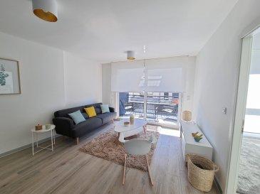 Appartement F3 entièrement meublé situé au 1er étage (sans ascenseur) de la résidence neuve CAMBRIDGE.  Ce logement meublé comprend: une entrée, un séjour avec une cuisine équipée (four, plaque de cuisson, hotte, réfrigérateur, lave-vaisselle, micro-ondes, etc.) et une loggia attenante, une première chambre de 9,95 m2 avec un placard sur mesure, une salle d\'eau avec wc, un cellier avec lave-linge, une seconde chambre de 11 m2 avec un placard sur mesure et une terrasse attenante.  En annexe: un emplacement de stationnement privatif  Prestation haut de gamme: porte blindée, volets motorisés, wc suspendu, isolation phonique renforcée, chauffage gaz par le sol, etc.  En attente du détail et montant des charges car l\'appartement n\'a pas  encore été livré  Disponible au 01/07/2021