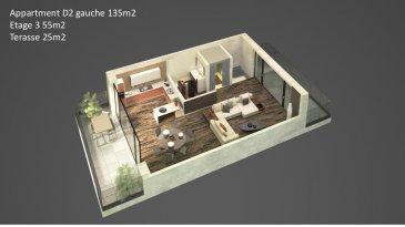Appartement-Duplex D2 Gauche d'une surface de +ou- 135m2 située au 2ème étage et retrait avec une entrée complètement séparée comme dans une maison, avec un accès par l'ascenseur directement dans le duplex desservant tout les étages. Le duplex comprend  2 salles de bains, 3 chambres à coucher. Au dernier étage un grand séjour, salle-à-manger-cuisine ouverte ( non équipée) traversante avec accès sur deux grandes terrasses et un débarras. Au sous-sol : une cave privative.  Vous pourrez acquérir un emplacement intérieur au prix de 30.000,00€ ou un emplacement extérieur au prix de 15.000,00€ à 3% de TVA inclus.  Le projet comprend 6 nouvelles résidences à toitures plates de style contemporain dans une rue calme et sans issue dans la ville de Tétange.   Les 6 résidences regroupent 16 logements en tout.  4 Résidences ont chacune  2 appartements et 1 penthouse sur deux niveaux par bâtiment, le sous-sol est commun aux 4 bâtiments. Les 4 résidences comprennent 24 emplacements intérieurs et 2 emplacements extérieurs.   Les 2 autres bâtiments ont 2 duplex chacun avec un sous-sol séparé pour les deux bâtiments qui disposent de 4 caves et de 4 emplacements intérieurs doubles. Les 4 duplex auront des entrées complètement séparés comme dans une maison.  Chaque appartement dispose d'une cave privé.   Les appartements sont spacieux et lumineux disposant de 2 à 3 chambres à coucher avec une voir 2 terrasses par appartements.  Les appartements situés au rez - de - chaussée dispose d'un jardin privé.  Chaque détail a été ici pensé afin de proposer aux futurs occupants un confort de vie optimal.  Des équipements et matériaux haut de gamme sélectionnés avec le plus grand soin, des espaces extérieurs comme des terrasses et jardins privés pour les appartements au rez-de-chaussée et des terrasses avec une vue dégagée pour les biens aux étages supérieurs .