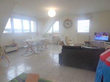 Appart. Guenange 3 pièce(s) 99 m² au sol. Situé 4 B rue Anne Boullie, cet appartement de 99 m² au sol se situe au 3ème et dernier étage.<br/>Il se compose d\'une cuisine équipée ouverte sur la pièce à vivre d\'environ 45 m², et accès terrasse (+ de 12 m²) exposée sud-est , deux chambres, une salle de douche et un WC indépendant.<br/>Pour votre confort l\'appartement est équipé d\'un store banne motorisé, et d\'une climatisation.<br/>Vous disposez également d\'un garage avec porte motorisée.<br/>Le chauffage et l\'eau (chaude et froide) sont inclus dans les charges de copropriété.<br/>IMMO DM: 03.82.57.31.87<br/> dont 5.00 % honoraires TTC à la charge de l\'acquéreur.<br/>Copropriété de 87 lots (Pas de procédure en cours).<br/>Charges annuelles : 4200.00 euros.