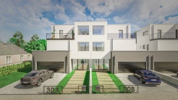 PROGETRA LUXEMBOURG VOUS PROPOSE A LA VENTE 4 MAISONS UNIFAMILIALES  , LIBRE DES 3 COTES À HUNCHERANGE 30,  Route d' Esch  (COMMUNE DE BETTEMBOURG)  Prochainement en construction   UN BIEN CONTEMPORAIN ET ORIGINAL  Dans un écrin paysager, ces 4 maisons unifamiliales à l'architecture contemporaine bénéficieront de finitions luxueuses qui répondront à vos exigences, chacune d'elles se distingue par son originalité, sa luminosité  sur toutes les pièces  qui communiquent avec des espaces extérieurs/terrasses et jardin via de grandes baies vitrées, sa fonctionnalité, pionnière sur le plan des économies d'énergie avec ses panneaux solaires thermique, sa pompe à chaleur, sa ventilation double flux.., une installation de chauffage par le sol. Elle sera dotée également d'une alarme.  Chacune d'elle sera réalisée sur une surface globale de 403.68 m2 : Surface plancher de 300.93 m2 dont la surface habitable est de 207.52 m2  surface terrasses : 102.75 m2.  Elle se décompose comme suit : Le sous-sol abrite 2 grandes caves dont une donne l'accès au jardin, 1 local technique, un grand hall pour rangement  Au rez de chaussée : 2 garages, 1 WC séparé, hall d'entrée, buanderie, cuisine et salon/séjour accès terrasse et jardin Au 1 er étage, 3 belles chambres accès terrasses comprenant 2 salles de bains/douche, WC séparé, un espace bureau. Au 3ème étage : suite parentale accès terrasse avec salle de bains/douche, WC séparé et espace bureau