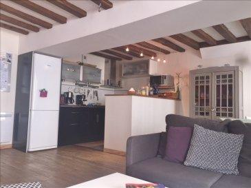 SAUMUR ET COMMUNES ASS<br />Charmant appartement 102 m² - 4 chambres- au premier étage en duplex, hyper centre, lumineux, entièrement refait comprenant :<br />Au 1er étage : un palier desservant : une belle pièce à vivre avec coin cuisine aménagée et équipée, une chambre, une salle d\'eau, wc et placards avec coin lingerie<br />1|2 étage :  une chambre, une salle d\'eau avec wc<br />Au 2ème étage :  un palier desservant 2 chambres, WC, <br />Une petite terrasse au calme<br />Cellier indépendant <br />Faibles charges de copropriété