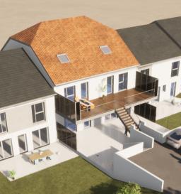 Appartements en Duplex : - 1er niveau : entrée, pièce de vie ouverte sur terrasse (22m²), WC séparé - 2ème niveau : deux chambres, salle de bain 2 places de stationnements extérieures privatives (possibilité garage) Chauffage au sol (électrique basse température), revêtement de sol aux choix, douche ou baignoire au choix