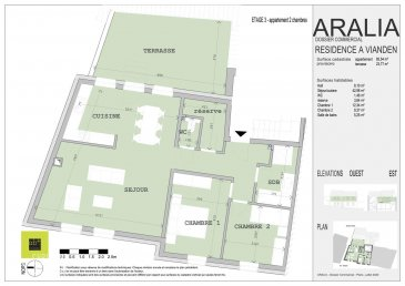L\'agence immobilière Christine SIMON, vous présente en exclusivité cette nouvelle Résidence ARALIA qui sera implantée sur un terrain dans la Commune de VIANDEN, 95 GRAND-RUE.<br>Début de construction 2020 livraison 2022.<br>Passeport énergétique A-A<br>Construction matériaux haut de gamme.<br><br>Appartement 5 au au troisième étage de deux chambres à coucher et une splendide terrasse avec vue sur le château de Vianden d\'une surface habitable de 85,54 m2 et sa terrasse de 23,77 m2 orientation sud.<br>Il se compose comme suit:<br>Hall d\'entrée, wc séparé, séjour, cuisine ouverte, 2 chambres à coucher, salle de bain, débarras, une grande terrasse de 23,77 m2.<br>Une cave et un très grand grenier d\'env. 81,95 m2, local technique, local poubelle communs.<br><br>Pour de plus amples renseignements, un rendez-vous ou le cahier de charges et les plans, contactez l\'agence au numéro 621 189 059 ou cs@christinesimon.lu<br>