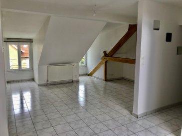 TALANGE F3 lumineux . Dans petit immeuble de 3 appartements, au 2ème dernier étage, Bel F3 lumineux et spacieux  sur dalle, en très bon état, composé d\'un entrée, d\'un salon séjour ouvert sur cuisine, 2 chambres, une salle de bains avec baignoire, WC séparé. Chauffage central au gaz. pas de garage.<br/>Disponible de suite.