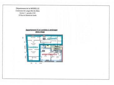 Longeville les Metz centre, à rénover au 2ème et dernier étage, appartement F2 de 32.4m²   combles attenants aménageables de 55m² habitables, dans une petite copropriété de 8 lots, composé d'un coin cuisine ouvert sur le séjour, d'une chambre, d'une salle d'eau, d'un WC et de plusieurs pièces dans la partie grenier. Honoraires à la charge du vendeur.Plus d'informations: Abac immobilier au 03 87 18 37 80